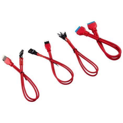 CORSAIR Kit d'extension gainé pour panneau avant Premium 30cm - Rouge (CC-8900246)