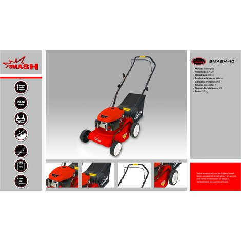 Cortacésped tracción manual 40cm de corte - Chasis polipropileno - 99cc - saco 45L - 7 alturas corte - SMASH