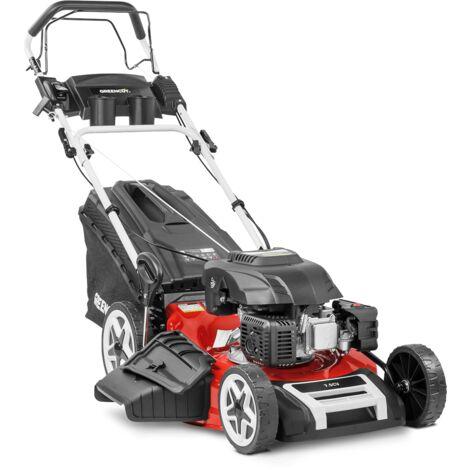 """Cortacésped GLM880X gasolina 173cc 7.5cv motor 4 tiempos OHV autopropulsado cuchilla acero de doble filo de 530mm 21"""" altura de corte regulable y cesta con capacidad de 65L - Greencut"""