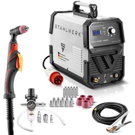 Cortador de plasma de STAHLWERK CUT 60 ST IGBT con 60 Amperio, rendimiento de corte hasta 24 mm, equipo completo, 7 años de garantía*.