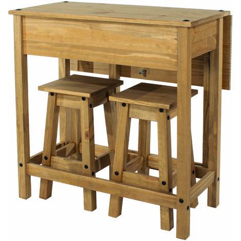 Cortan breakfast drop leaf table & 2 stools SET Brown pine
