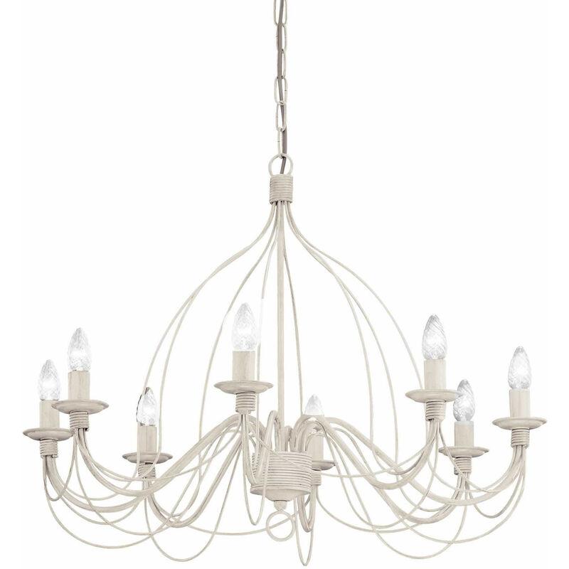 01-ideal Lux - CORTE antike weiße Pendelleuchte 8 Glühbirnen