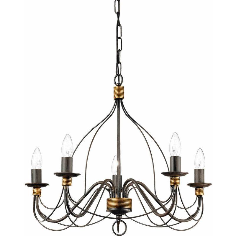 01-ideal Lux - CORTE Rust Pendelleuchte 5 Glühbirnen