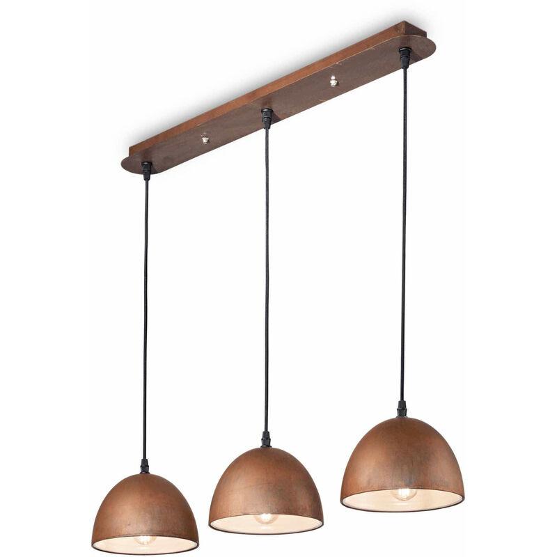 01-ideal Lux - Corten FOLK Pendelleuchte 3 Glühbirnen