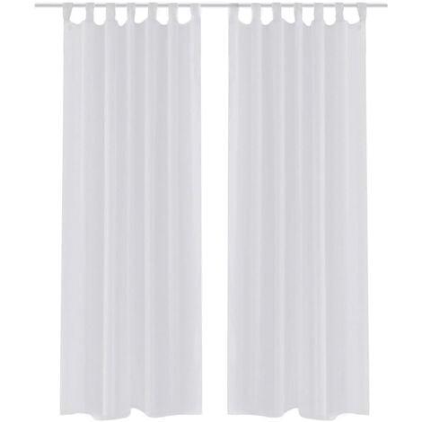 Cortina blanca transparente 2 piezas 140x245 cm