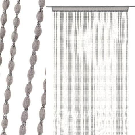 Cortina con borlas gris exótica de poliéster de 250x90 cm