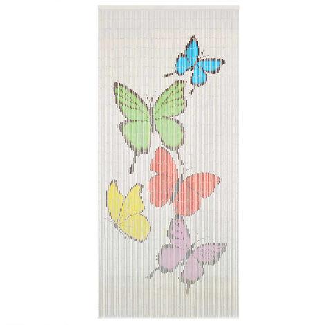 Cortina de bambú para puerta contra insectos 90x200 cm - Multicolor