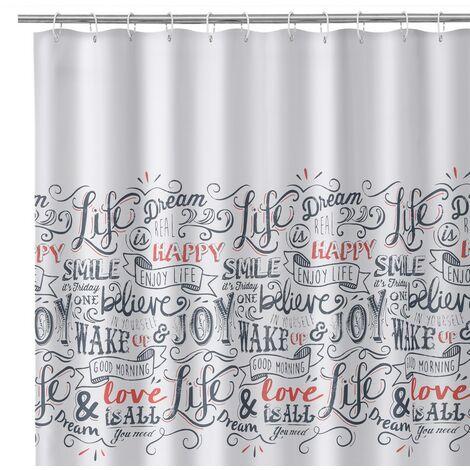 Cortina de baño confeccionada blanca de tela y poliéster de200x180 cm