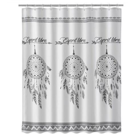 Cortina de baño de atrapasueños exótica blanca de tela y poliéster de 200x180 cm