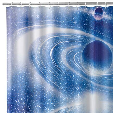 Cortina de baño de universo azul oscuro de tela y poliésterde 200x180 cm