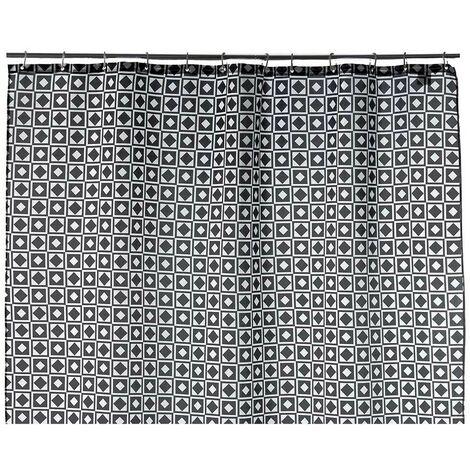 Cortina de Baño Original, de color Blanco y Negro, de 180cm X 200cm. Diseño Geométrico, con estilo Contemporáneo - Hogar y Más