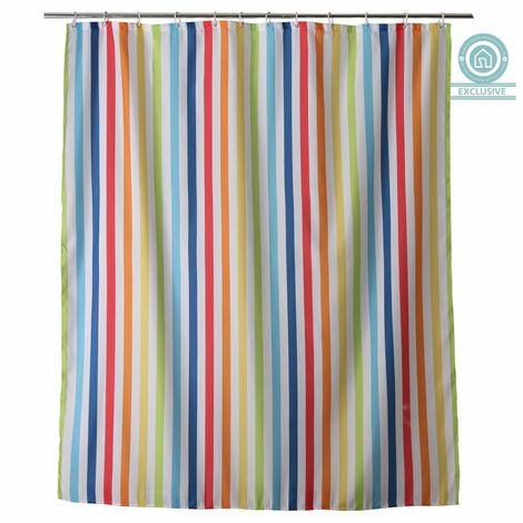 Cortina de Baño Original, de Rayas Multicolor, de 180cm X 200cm, para Ducha. Diseño Colorido, con estilo Moderno - Hogar y Más