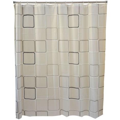Cortina de Baño para Ducha, con Tejido de Peva. Diseño de Baldosas, con estilo Mosaico - Hogar y Más