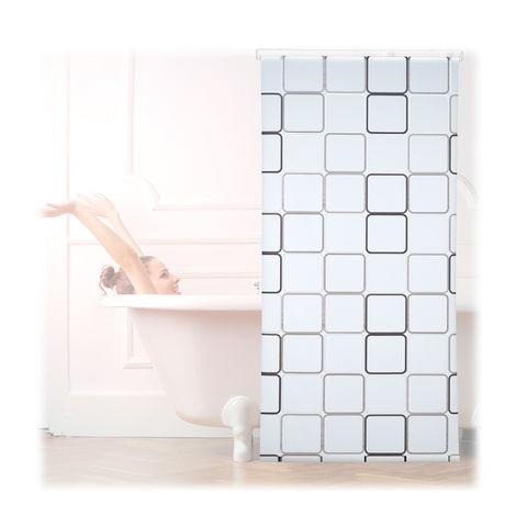 Cortina de ducha SQUARE, A cuadros, Soporte de techo, Semitransparente, 100x240 cm