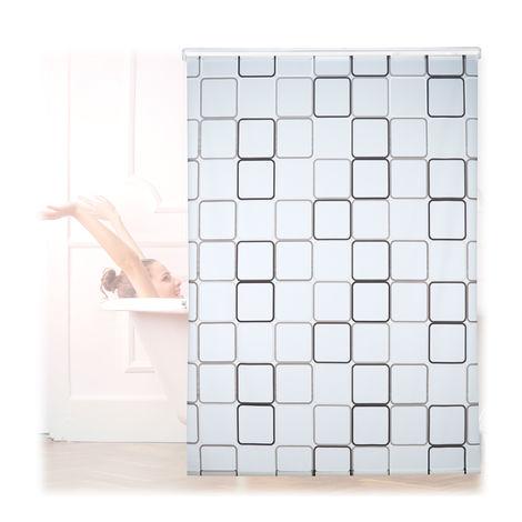 Cortina de ducha SQUARE, A cuadros, Soporte de techo, Semitransparente, 160x240 cm