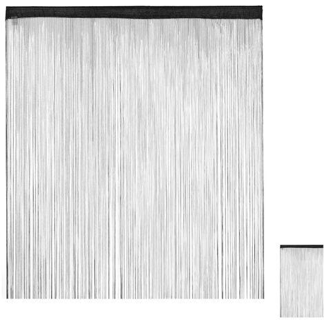 Cortina de flecos, Acortable, Pasaje, Para puerta y ventana, 145x245 cm, Negro