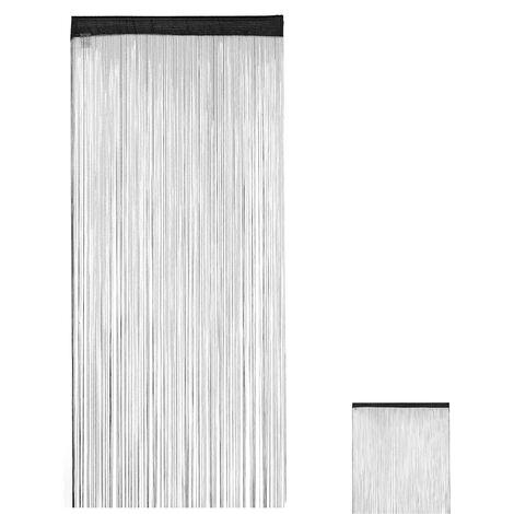 Cortina de flecos, Acortable, Pasaje, Para puerta y ventana, 90x245 cm, Negro