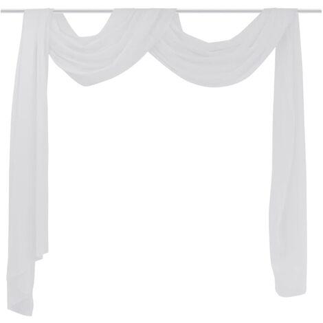 Cortina de gasa transparente, 140 x 600 cm, Blanco