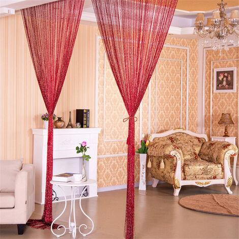 Cortina de hilo para puerta, cortina de hilo de linea plateada brillante con borlas brillantes, 100x200cm