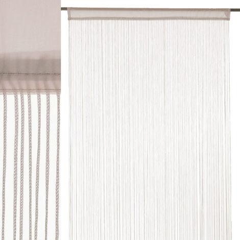 Cortina de hilos beige clásica de poliéster de 250x90 cm
