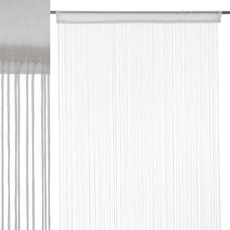 Cortina de hilos blanca clásica de poliéster de 250x90 cm
