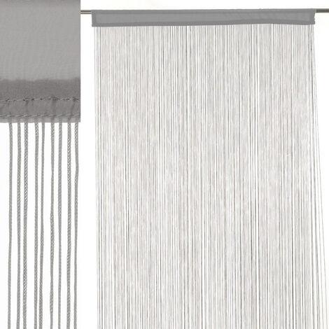 Cortina de hilos gris clásica de poliéster de 250x90 cm