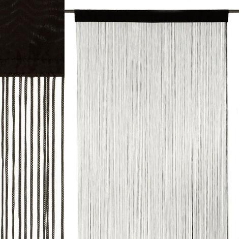 Cortina de hilos negro clásica de poliéster de 250x90 cm