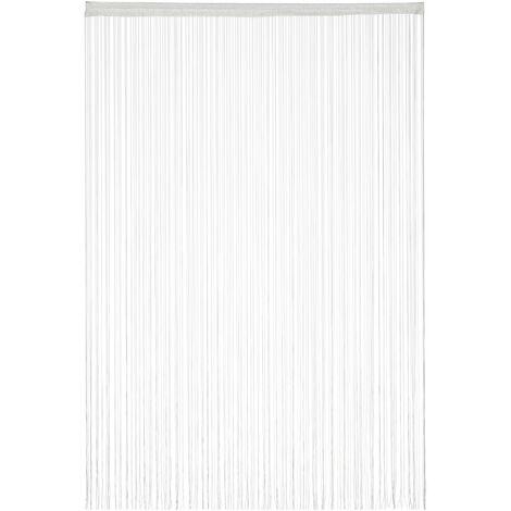 Cortina de hilos, Para cortar, Con pasador, Para puertas y ventanas, 145x245 cm, Blanca