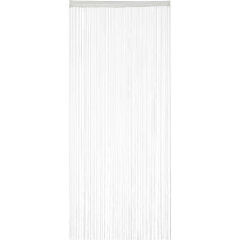 Cortina de hilos, Para cortar, Con pasador, Para puertas y ventanas, 90x245 cm, Blanca