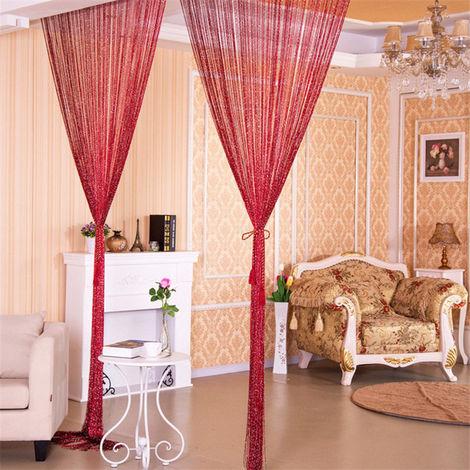 Cortina de la secuencia linea de plata cortina de la secuencia puerta brillante de la borla de la decoracion del hogar flash 100x200cm, rojo vino