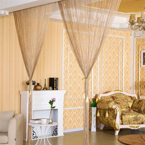 Cortina de la secuencia puerta brillante de la borla de plata Flash Linea cortina de la secuencia 100x200cm la decoracion del hogar, Oro