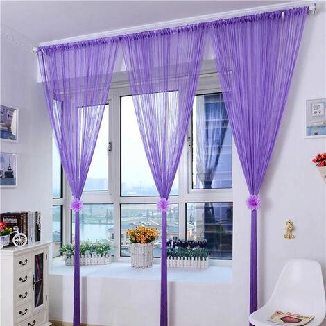 Cortina de la secuencia puerta brillante de la borla de plata Flash Linea cortina de la secuencia 100x200cm la decoracion del hogar, purpura