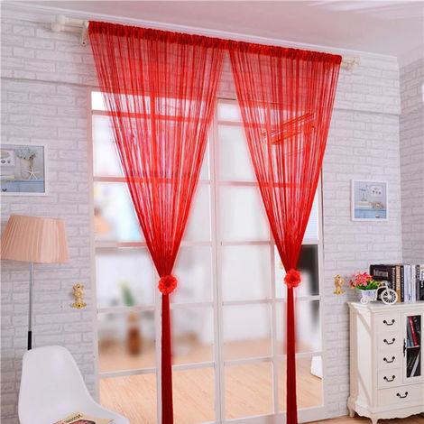 Cortina de la secuencia puerta brillante de la borla de plata Flash Linea cortina de la secuencia 100x200cm la decoracion del hogar, Rojo