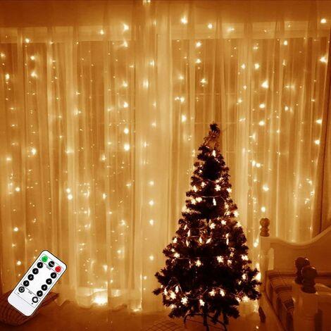 Cortina de luz LITZEE, 300 luces LED de cadena de 3 m * 3 m, 8 modos de luz, decoración de ventanas, Navidad, boda, cumpleaños, hogar, patio
