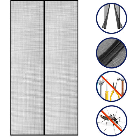 Cortina de malla de puerta con pantalla magnetica, se adapta a puertas de hasta 39 x 83 pulgadas