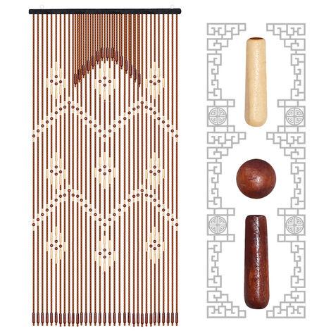Cortina de puerta de madera - Partición de porche de cuentas de madera 90x220cm 31 líneas