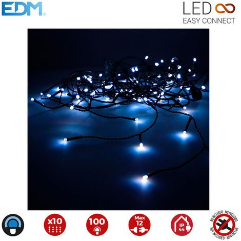 Cortina easy-connect 2x1mts 10 tiras 100 leds azul 30v (interior-exterior) edm total 1,8w
