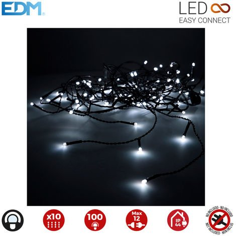 Cortina easy-connect 2x1mts 10 tiras 100 leds blanco frio 30v (interior-exterior) edm total 1,8w