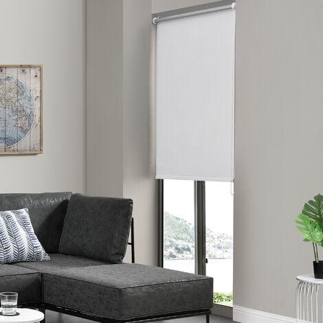 Cortina enrollable para Ventana - 90 x 150 cm - Protector solar y de Luz - Opaca - Dar Sombra - No necesita taladrar - Blanco