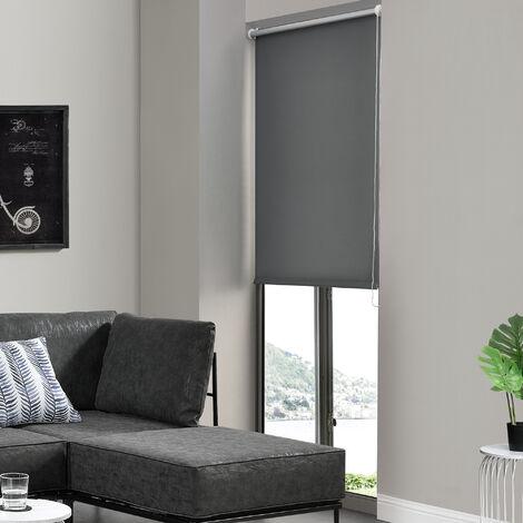 Cortina enrollable para Ventana - 90 x 150 cm - Protector solar y de Luz - Opaca - Dar Sombra - No necesita taladrar - Gris oscuro