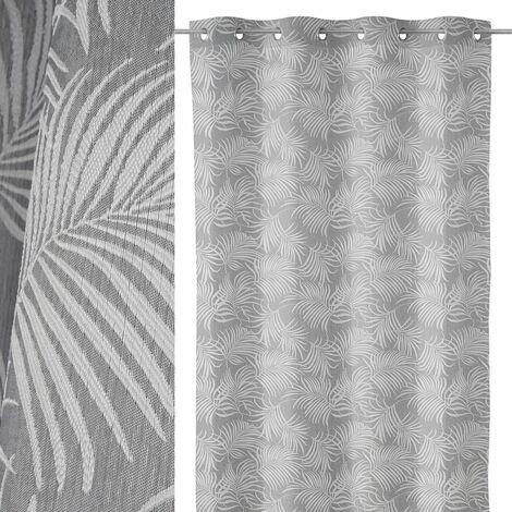 Cortina hojas de palmera gris de poliéster de 140x260cm