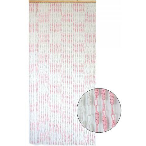 Cortina para Puerta de Bambú y Sisal Natural, en color Blanco y Rosa. Sostenible, exenta de plásticos 90cm X 190cm - Hogar y Más
