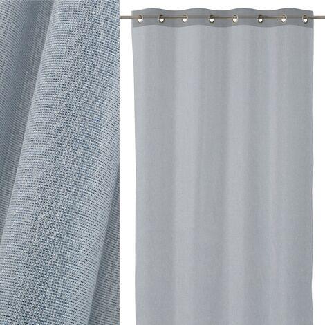 Cortina visillo azul clásica de poliéster de 260x140 cm