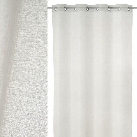 Cortina visillo confeccionada en poliéster blanca de 140x260 cm