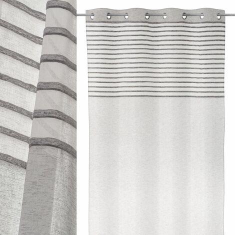 Cortina visillo gris moderna de microfibra de 260x140 cm