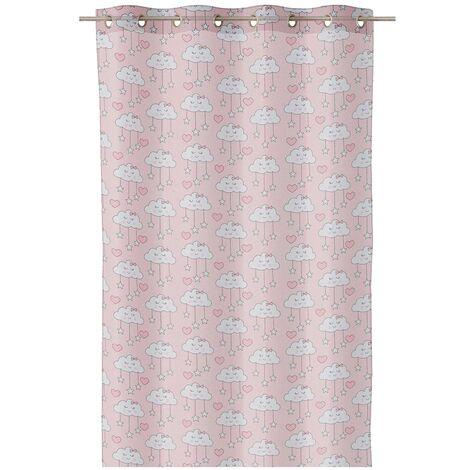Cortina visillo infantil rosa de microfibra de 260x140 cm