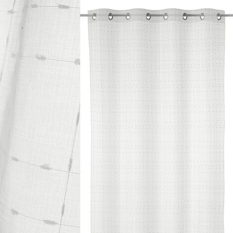 Cortina visillo textura blanca de poliéster de 140x260 cm