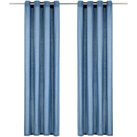 Cortinas con anillas de metal 2 uds algodón azul 140x245 cm