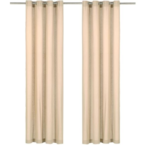 Cortinas con anillas de metal 2 uds algodón beige 140x245 cm