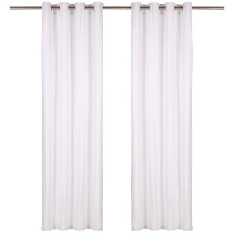 Cortinas con anillas de metal 2 uds algodón blanco 140x245 cm